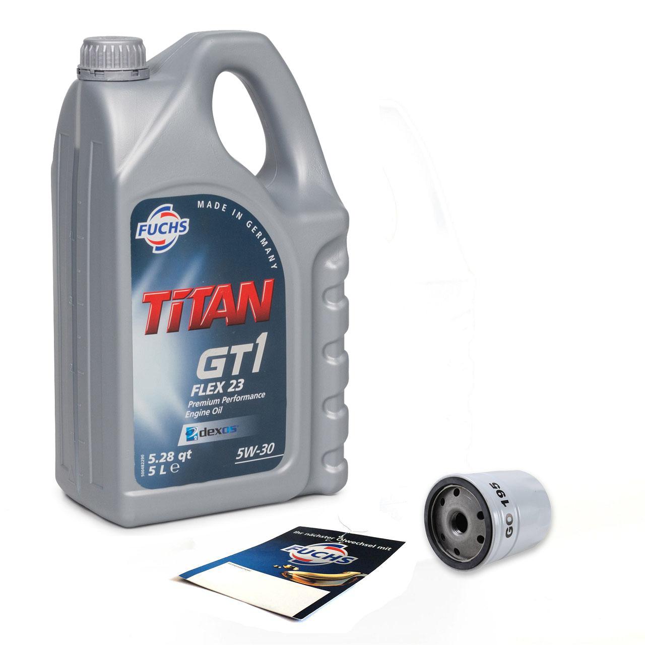FUCHS Motoröl 5W30 5L dexos2 + Ölfilter 650104 für ASTRA G/H VECTRA B/C ZAFIRA A