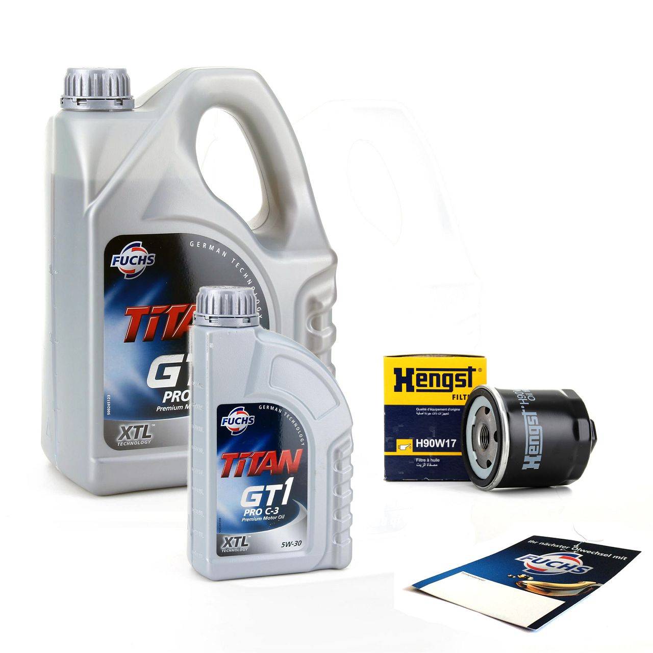 FUCHS Motoröl TITAN GT1 Pro C-3 5W-30 5 Liter 5L + HENGST Ölfilter H90W17