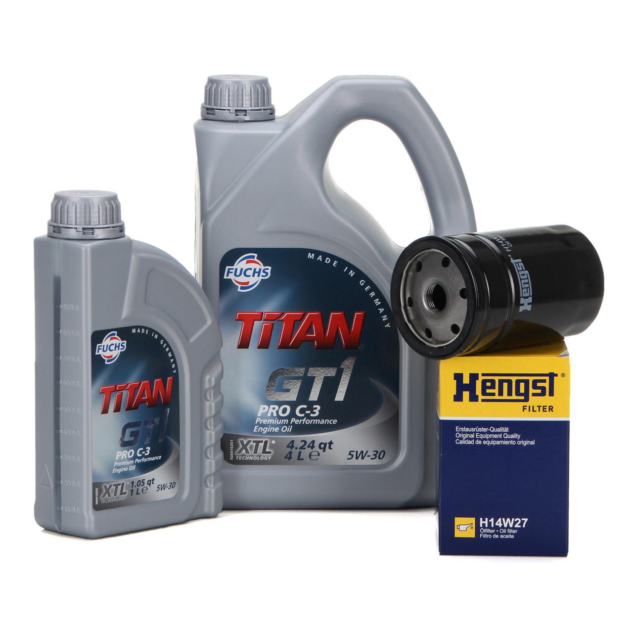 FUCHS Motoröl TITAN GT1 Pro C-3 5W-30 5W30 5 Liter 5L + HENGST Ölfilter H14W27