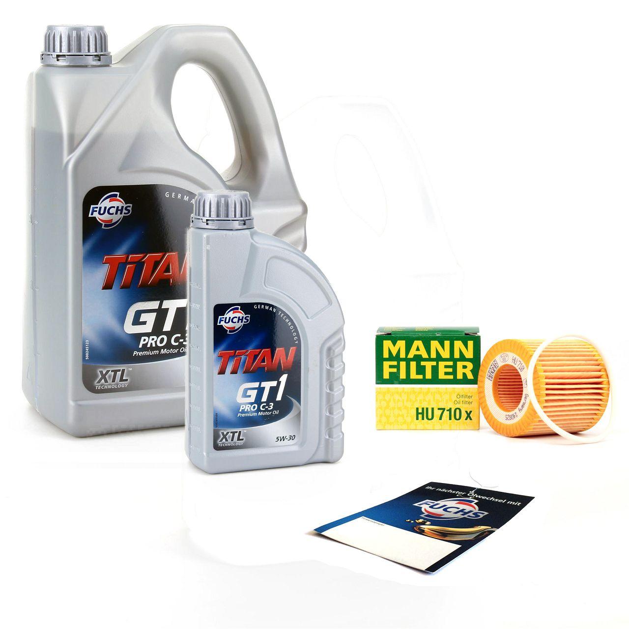 FUCHS Motoröl TITAN GT1 Pro C-3 5W30 5W-30 5L 5 Liter + MANN Ölfilter HU710X