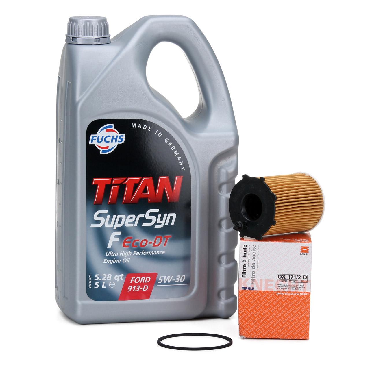 FUCHS Motoröl ÖL TITAN SuperSyn F Eco-DT 5W-30 5 Liter + MAHLE OX171/2D Ölfilter