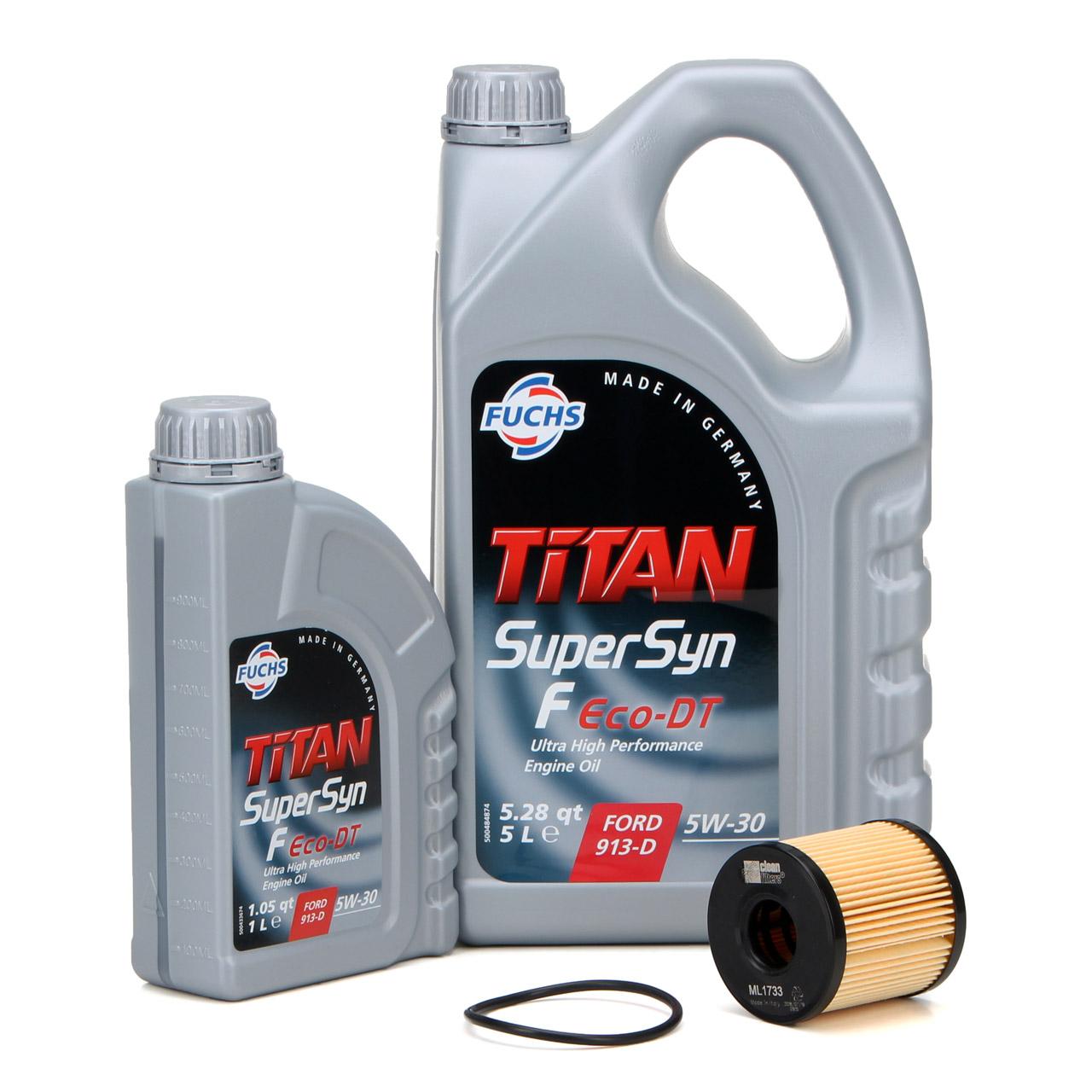 FUCHS Motoröl ÖL TITAN SuperSyn F Eco-DT 5W-30 5W30 6 Liter + Ölfilter 1717510