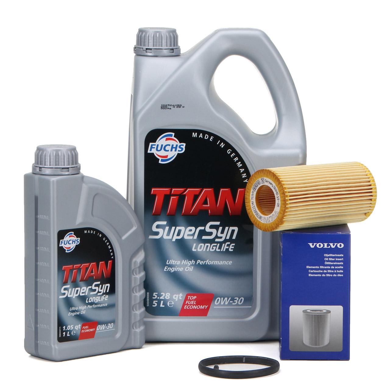 FUCHS Motoröl TITAN SUPERSYN LONGLIFE 0W30 6 L ORIGINAL Volvo Ölfilter 30788490
