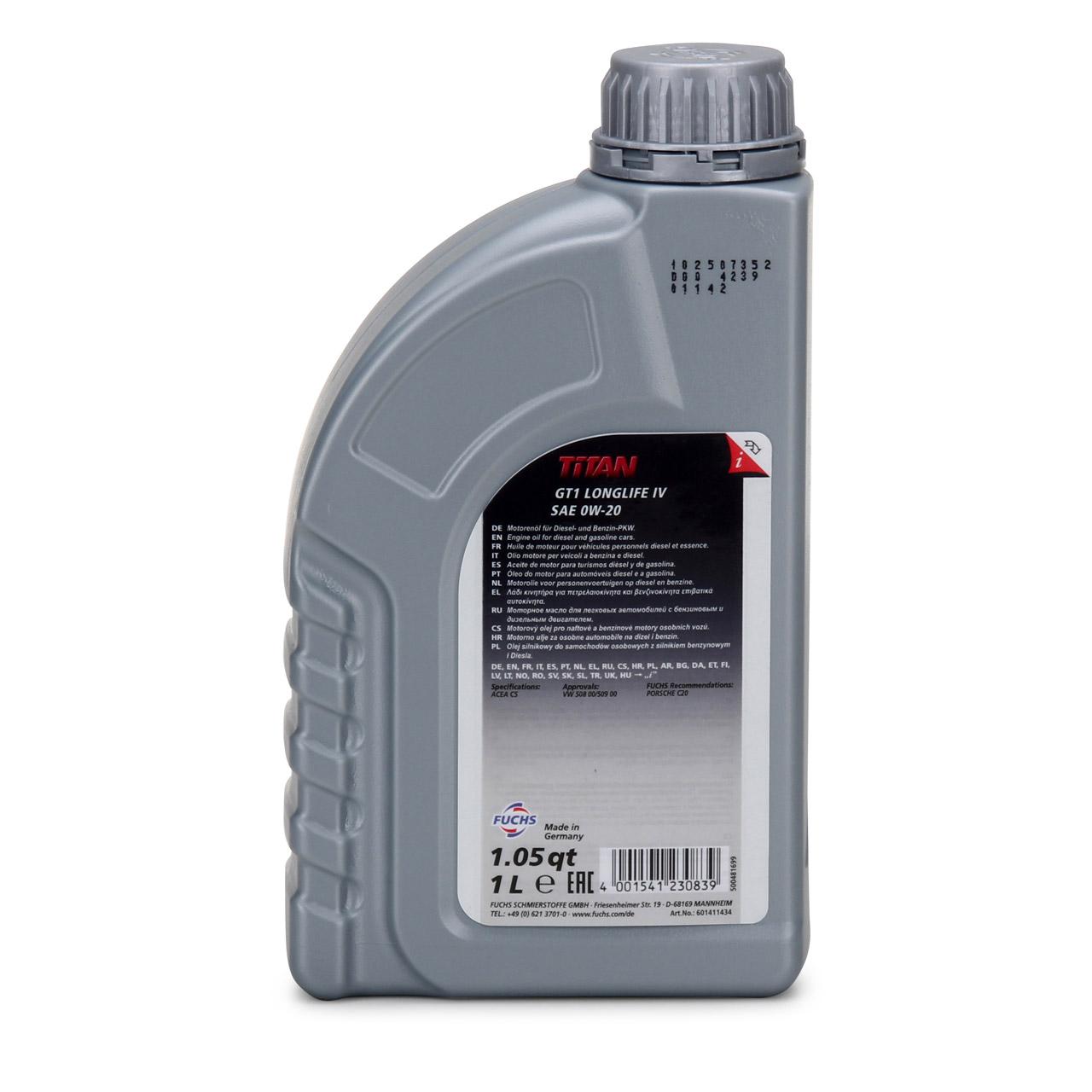 FUCHS Motoröl Öl TITAN GT1 LONGLIFE IV 0W-20 0W20 VW 508.00/509.00 1 Liter 1L