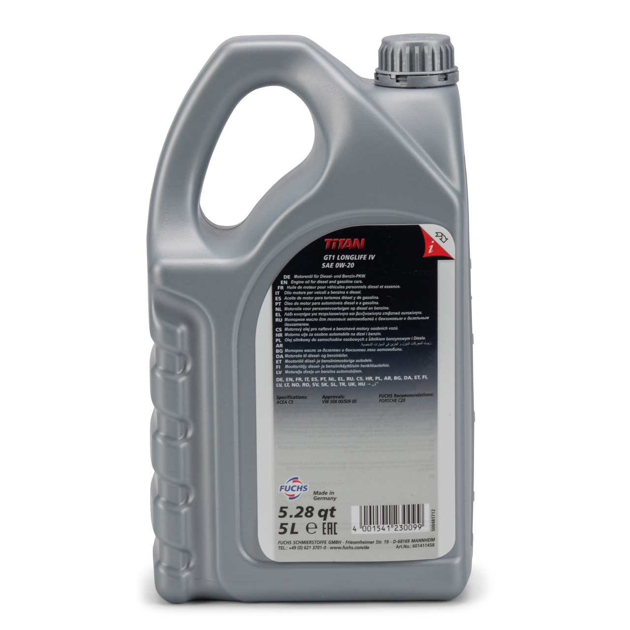 FUCHS Motoröl Öl TITAN GT1 LONGLIFE IV 0W-20 0W20 VW 508.00/509.00 5 Liter 5L