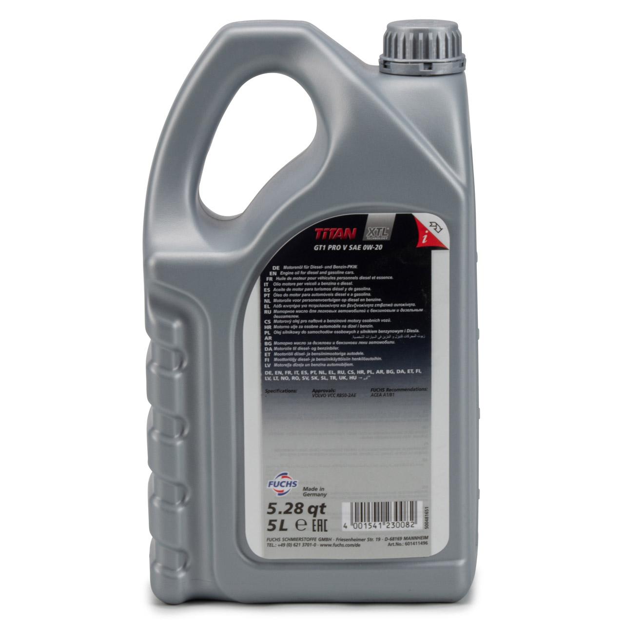 FUCHS Motoröl Öl TITAN 0W20 GT1 PRO V ACEA A1/B1 Volvo VCC RBS0-2AE - 5L 5 Liter