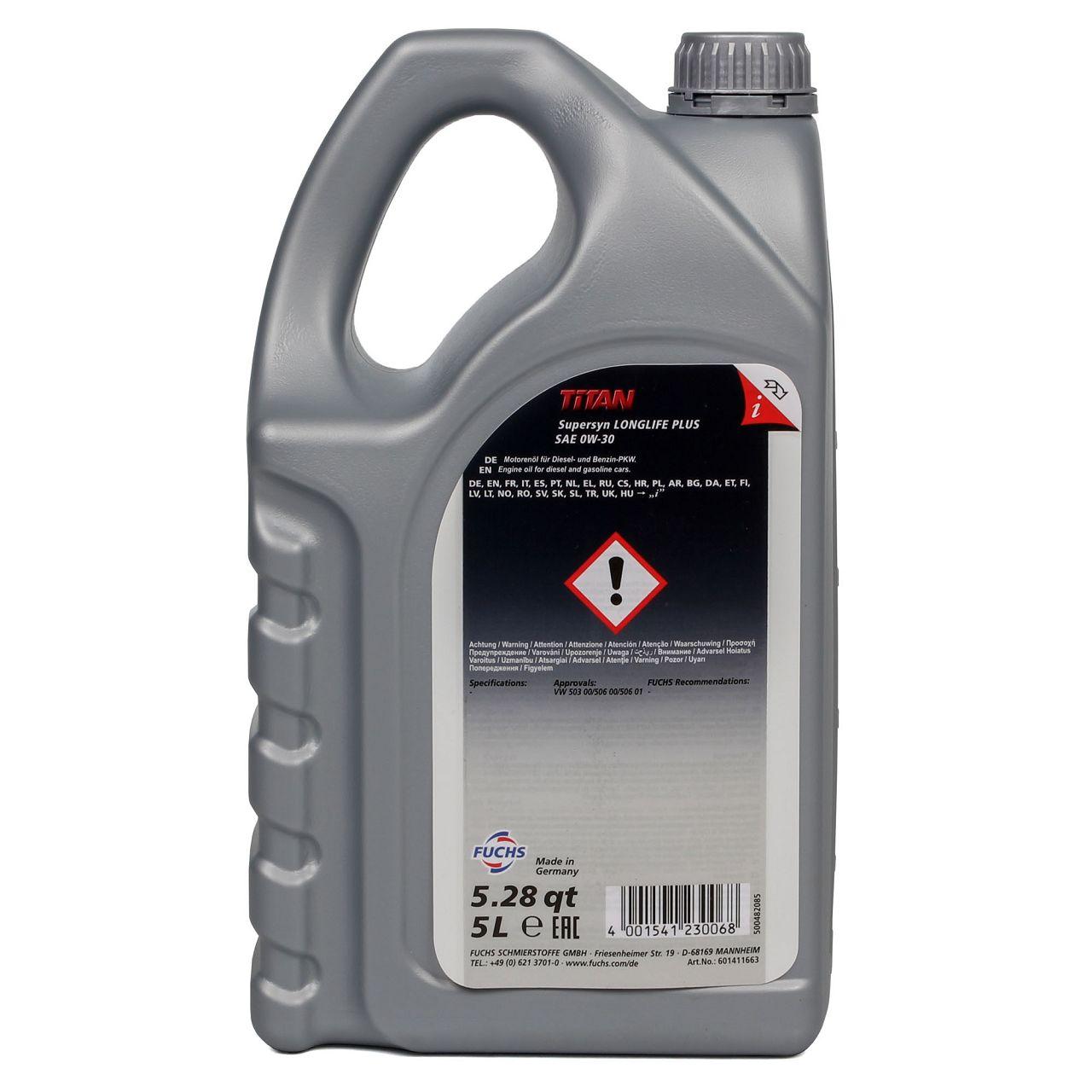 FUCHS Motoröl TITAN 0W-30 0W30 SuperSyn LongLife Plus VW 503.00 506.01 5Liter 5L