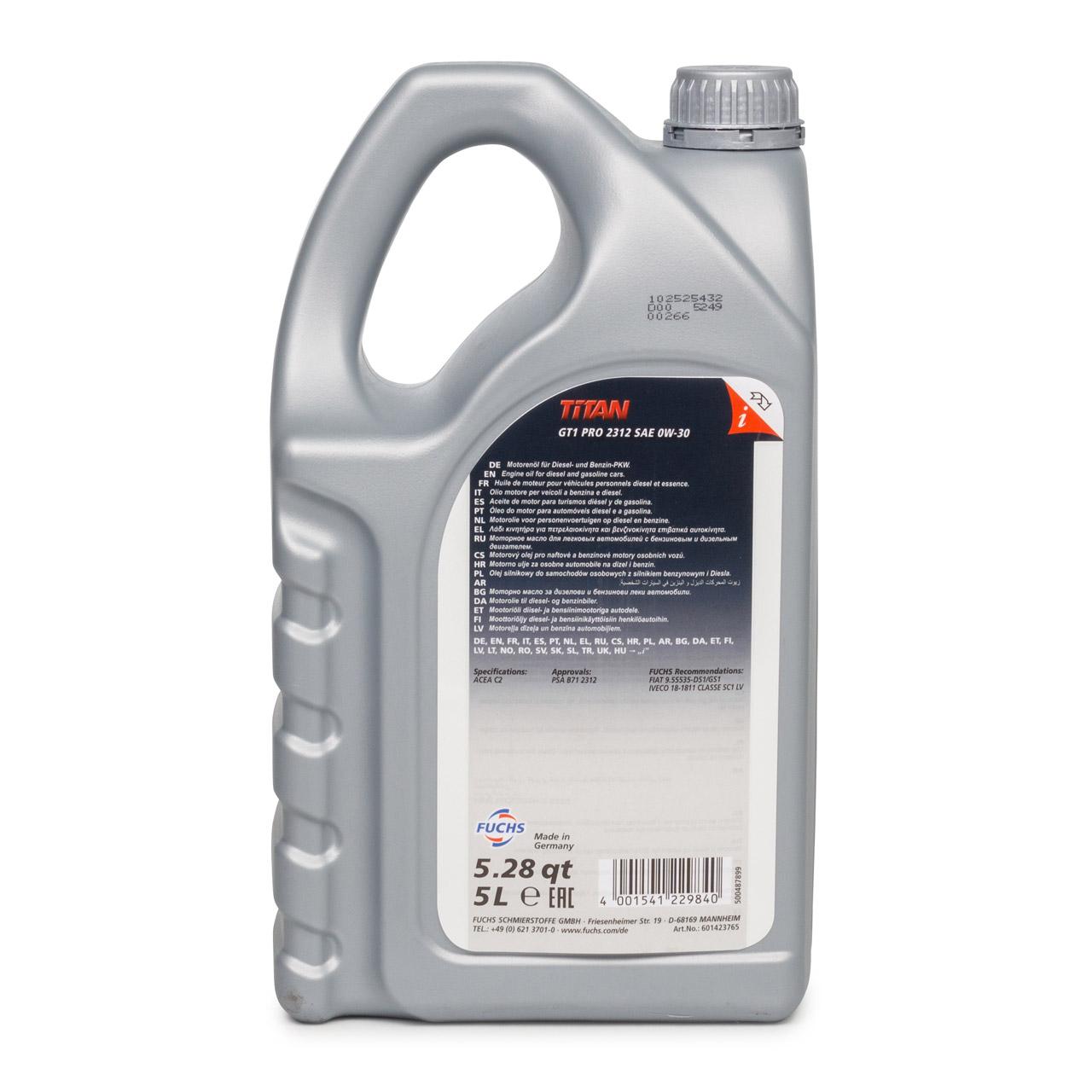 FUCHS Motoröl ÖL TITAN GT1 PRO 2312 0W-30 0W30 ACEA C2 PSA B71 2312 - 5L 5 Liter