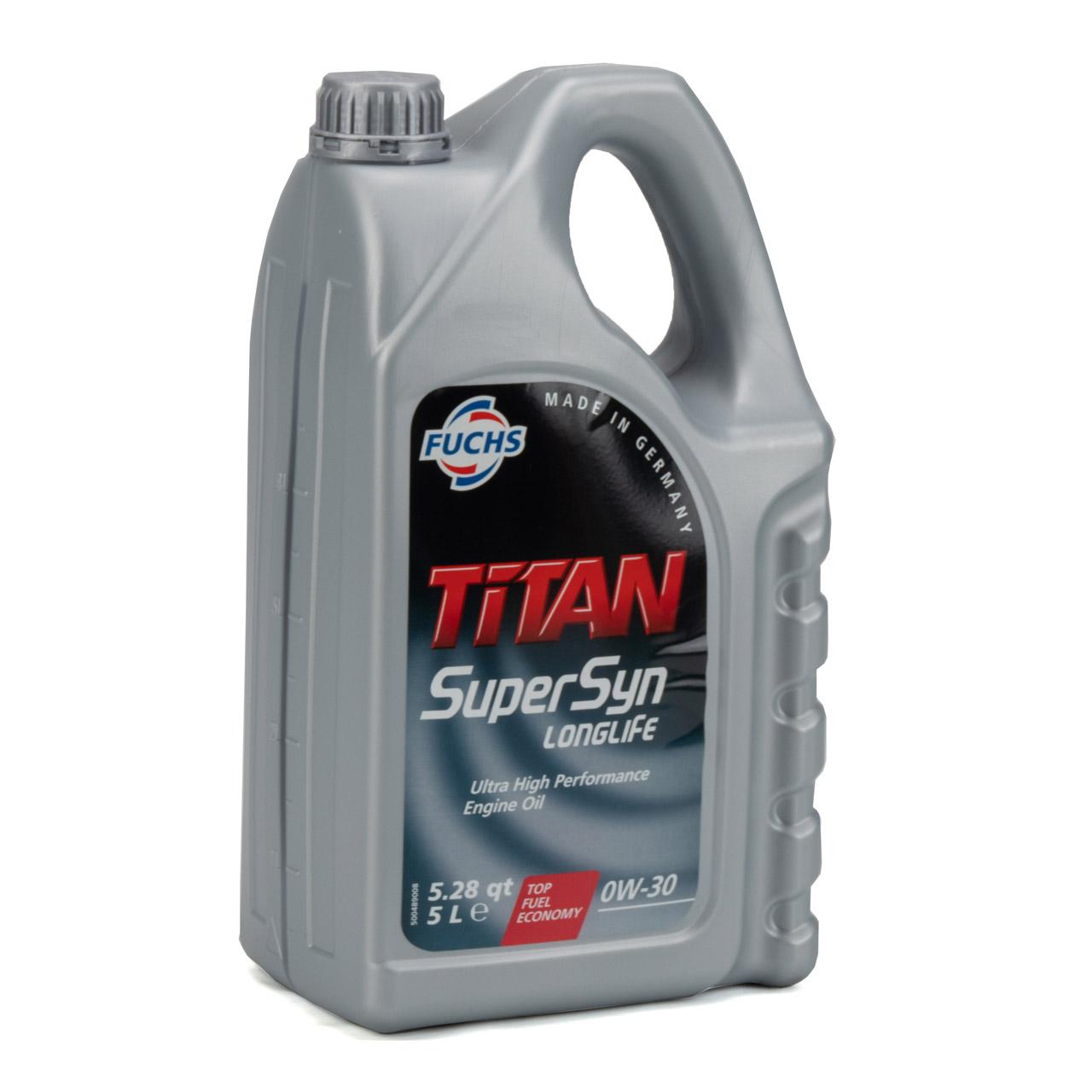 FUCHS Motoröl ÖL TITAN SUPERSYN LONGLIFE 0W30 MB 229.5 VW 502/505.00 - 8 Liter