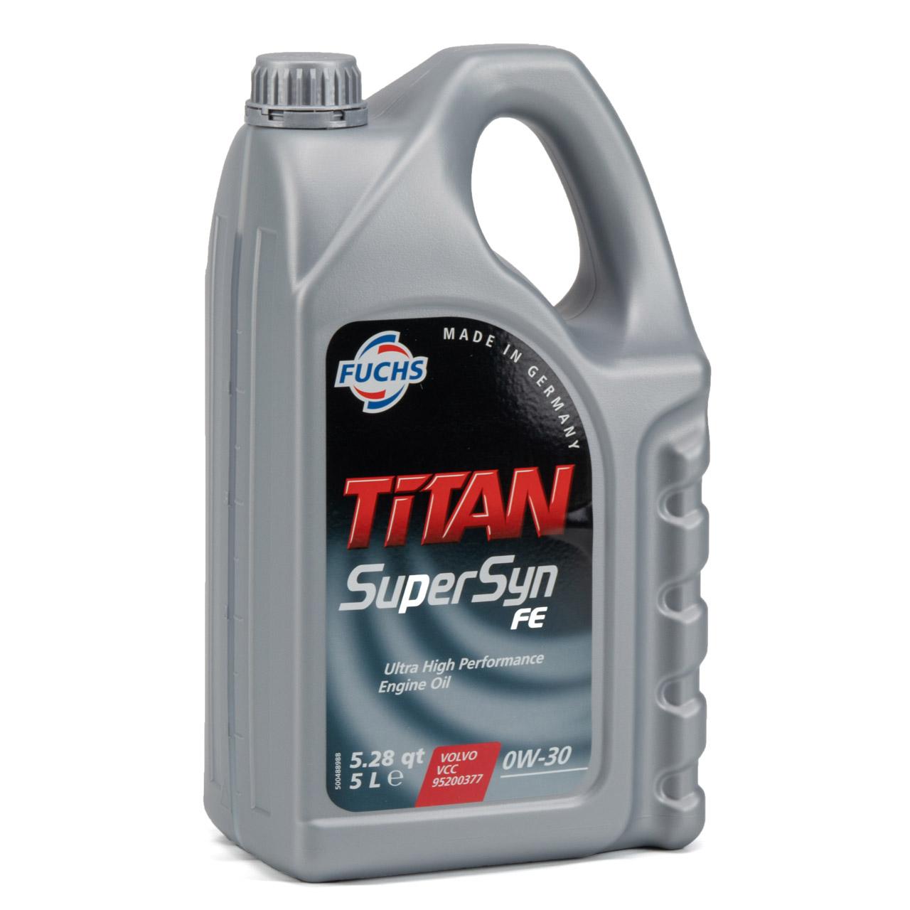 FUCHS Motoröl Öl TITAN 0W30 SUPERSYN FE ACEA A5/B5 VOLVO VCC 95200377 5 Liter