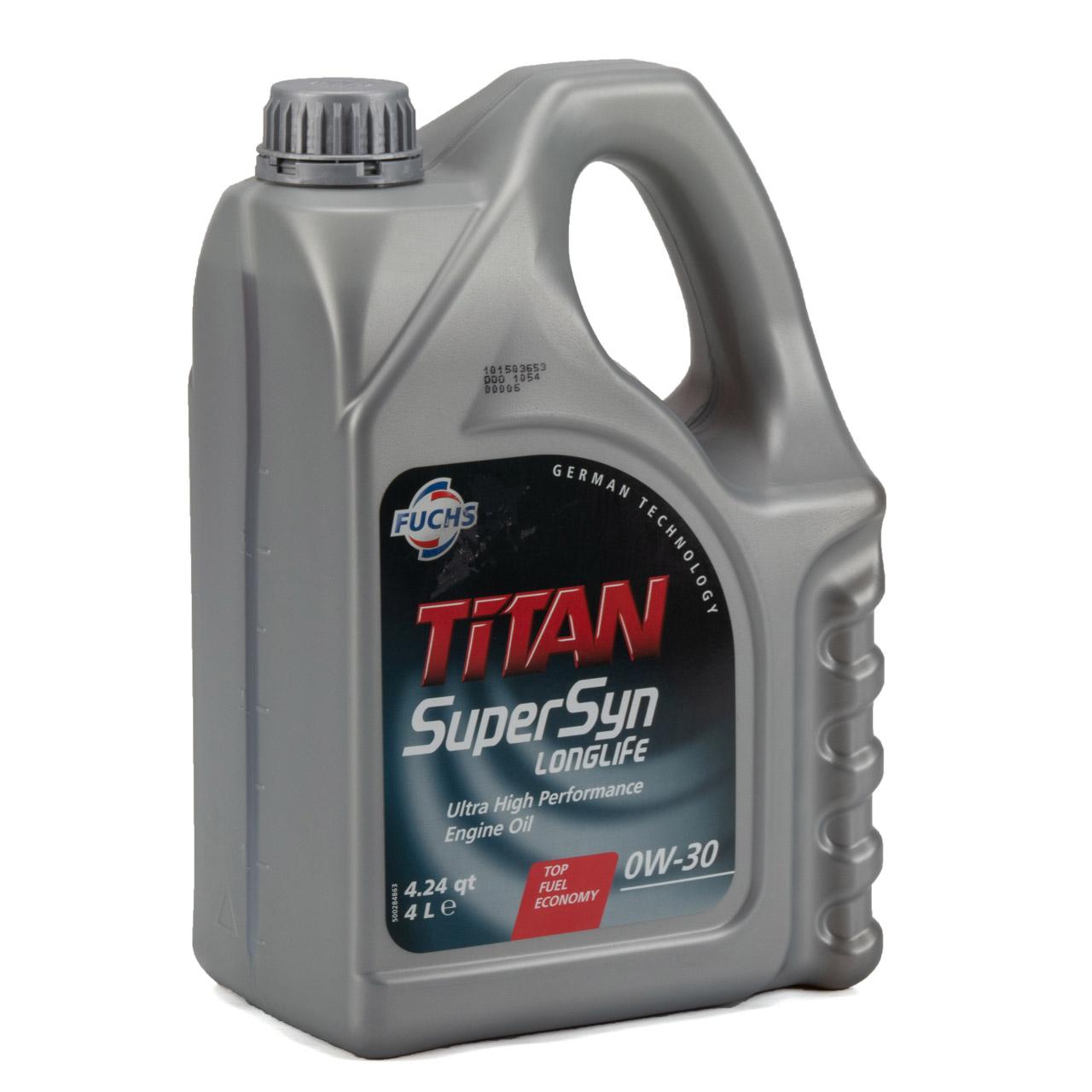 FUCHS Motoröl ÖL TITAN SUPERSYN LONGLIFE 0W30 MB 229.5 BMW Longlife-01 - 4 Liter