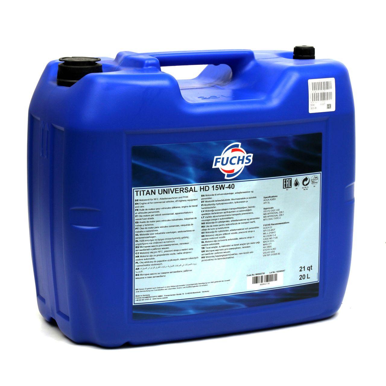 FUCHS Motoröl Öl TITAN UNIVERSAL HD ACEA A3/B3/B4 15W-40 15W40 20 L 20 Liter