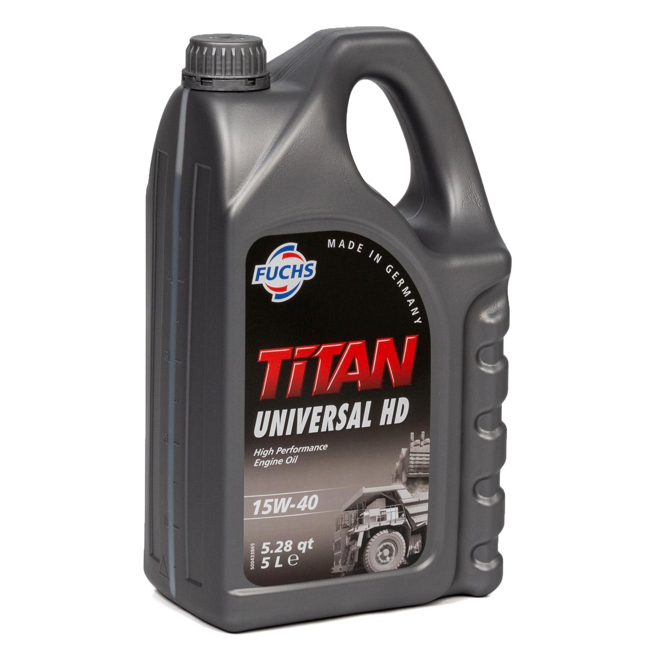 FUCHS Motoröl Öl TITAN UNIVERSAL HD ACEA A3/B3/B4 15W-40 15W40 5 L 5 Liter