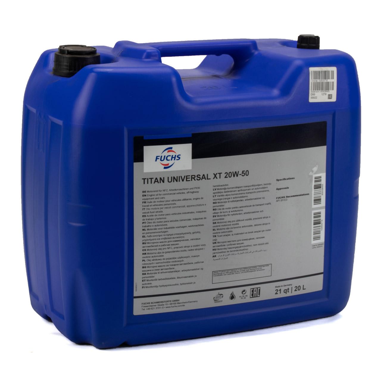 FUCHS Motoröl Öl TITAN Universal XT 20W-50 20W50 API SF API CD - 20L 20 Liter