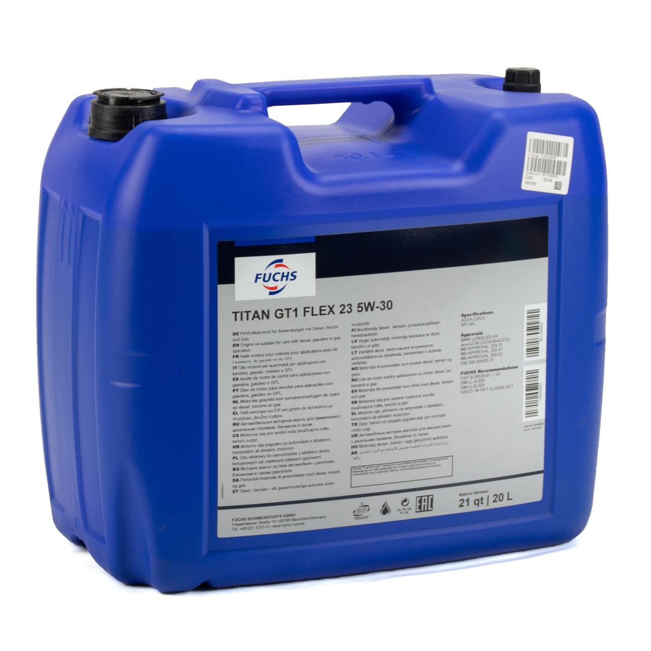 FUCHS Motoröl TITAN GT1 Flex 23 5W30 5W-30 dexos2 LL-04 505.00/505.01 - 20 Liter
