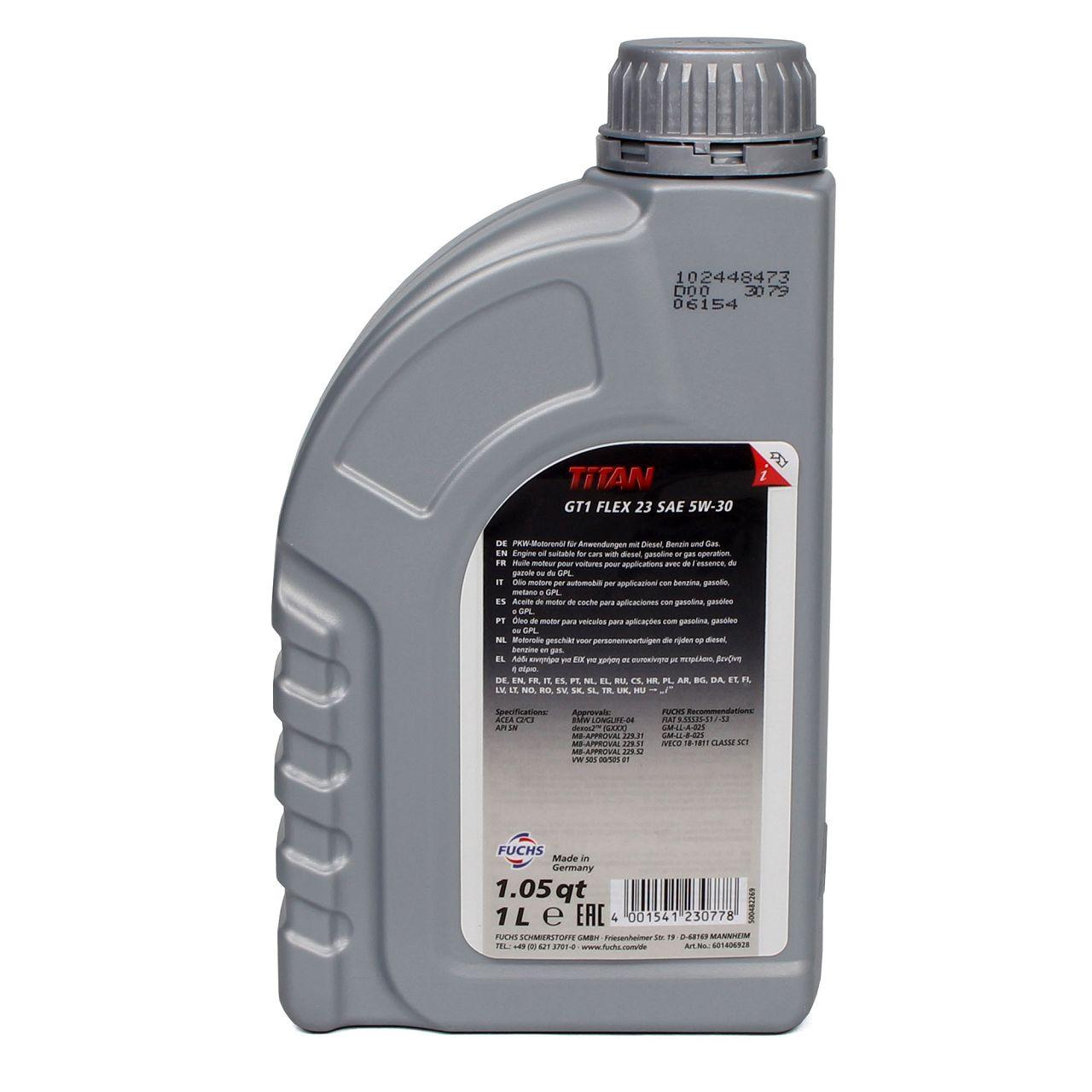 FUCHS Motoröl TITAN GT1 Flex 23 5W30 5W-30 dexos2 LL-04 505.00/505.01 1L 1 Liter