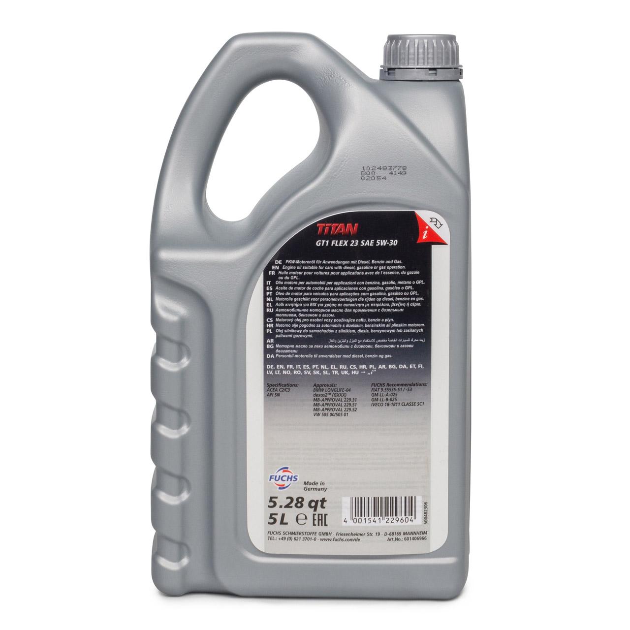 FUCHS Motoröl TITAN GT1 Flex 23 5W30 5W-30 dexos2 LL-04 505.00/505.01 5L 5 Liter