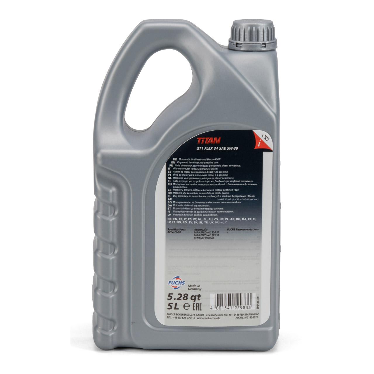 FUCHS Motoröl TITAN GT1 Flex 34 5W-30 5W30 MB 226.51 229.51 RN0720 - 5L 5 Liter