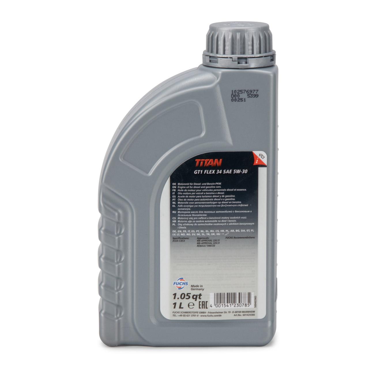 FUCHS Motoröl TITAN GT1 Flex 34 5W-30 5W30 MB 226.51 229.51 RN0720 - 1L 1 Liter