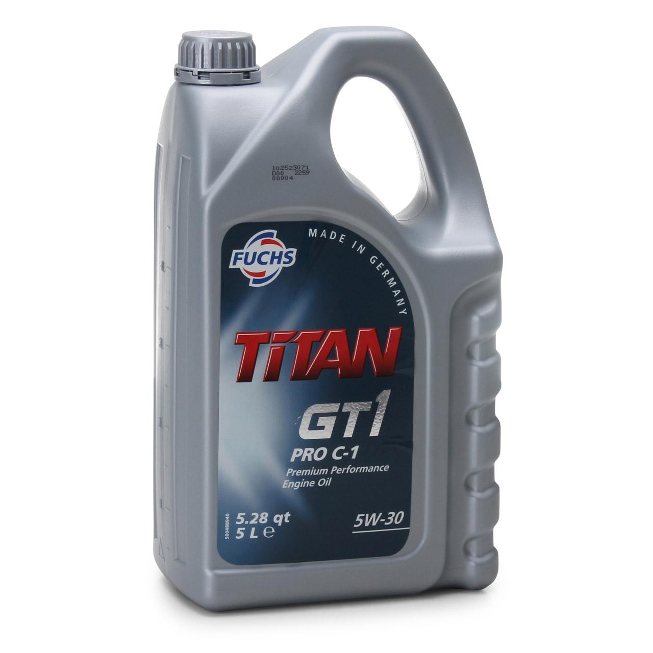 FUCHS Öl Motoröl TITAN GT1 PRO C-1 5W30 5L 5 Liter für FORD JAGUAR LAND ROVER