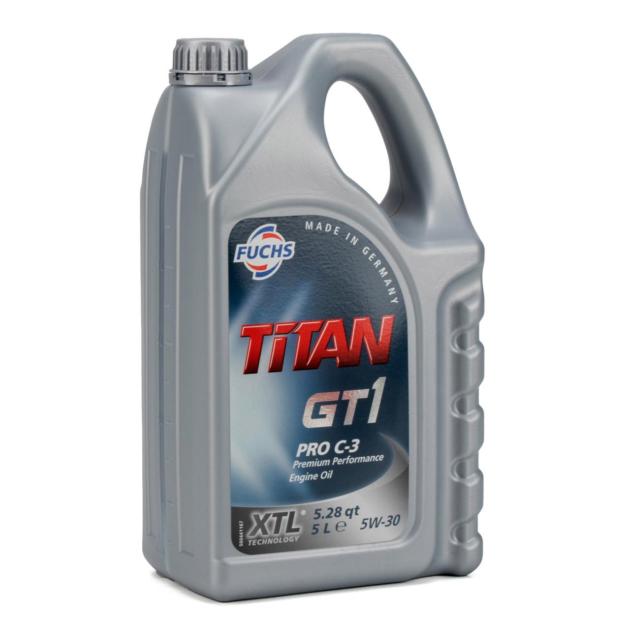 FUCHS MOTORÖL TITAN GT1 Pro C-3 5W30 5W-30 VW 504.00 507.00 MB 229.51 5L 5 Liter