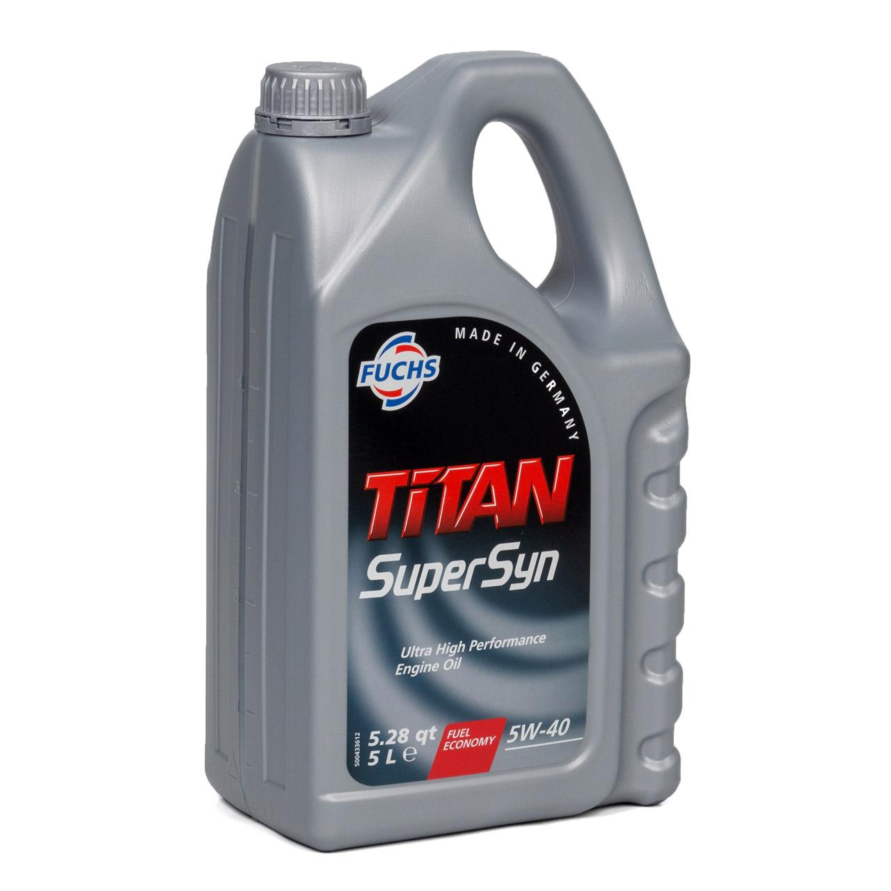 FUCHS MOTORÖL TITAN SuperSyn 5W-40 VW 502.00/505.00 MB 229.3 RN0700 - 5L 5 Liter
