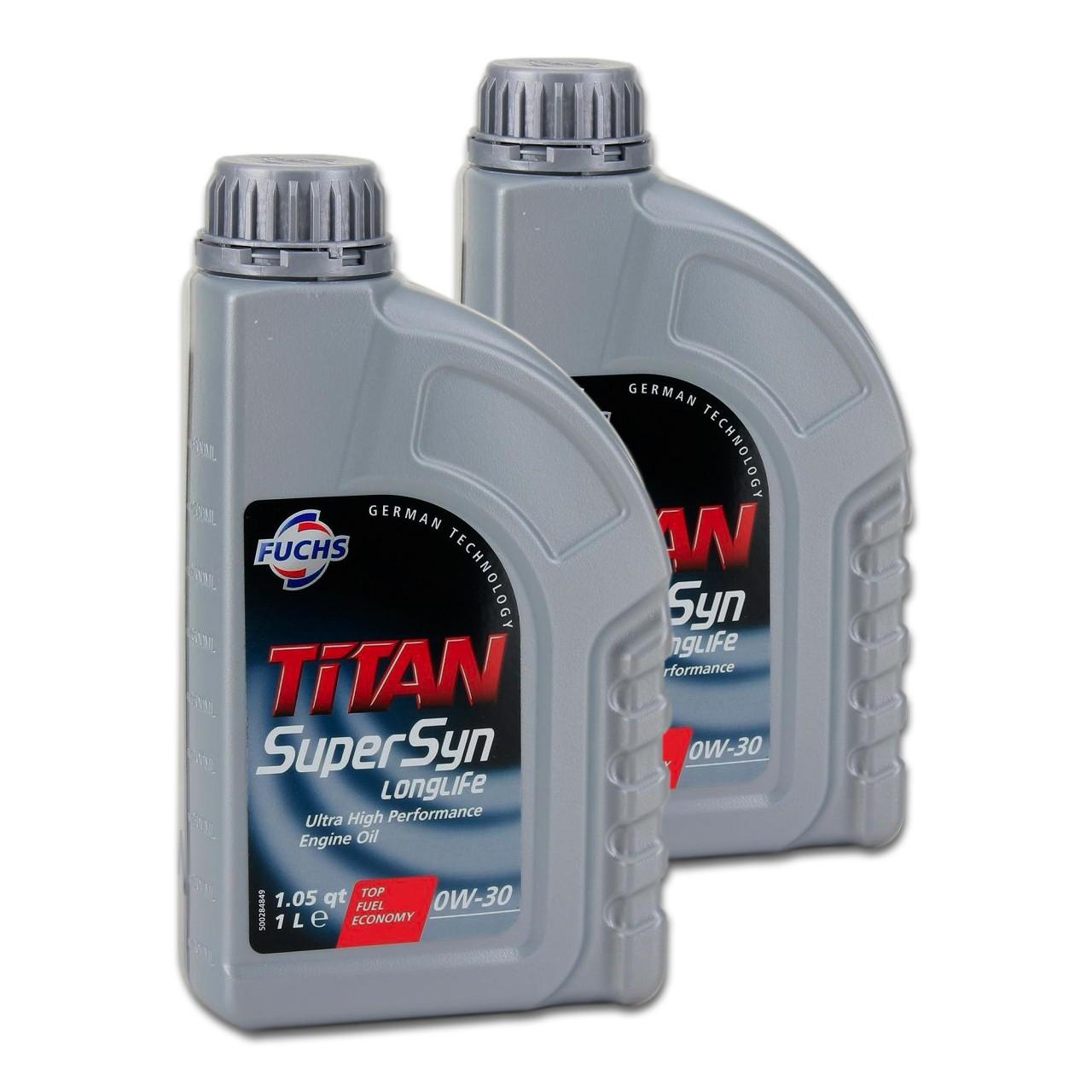 FUCHS Motoröl ÖL TITAN SUPERSYN LONGLIFE 0W30 MB 229.5 VW 502/505.00 - 2 Liter