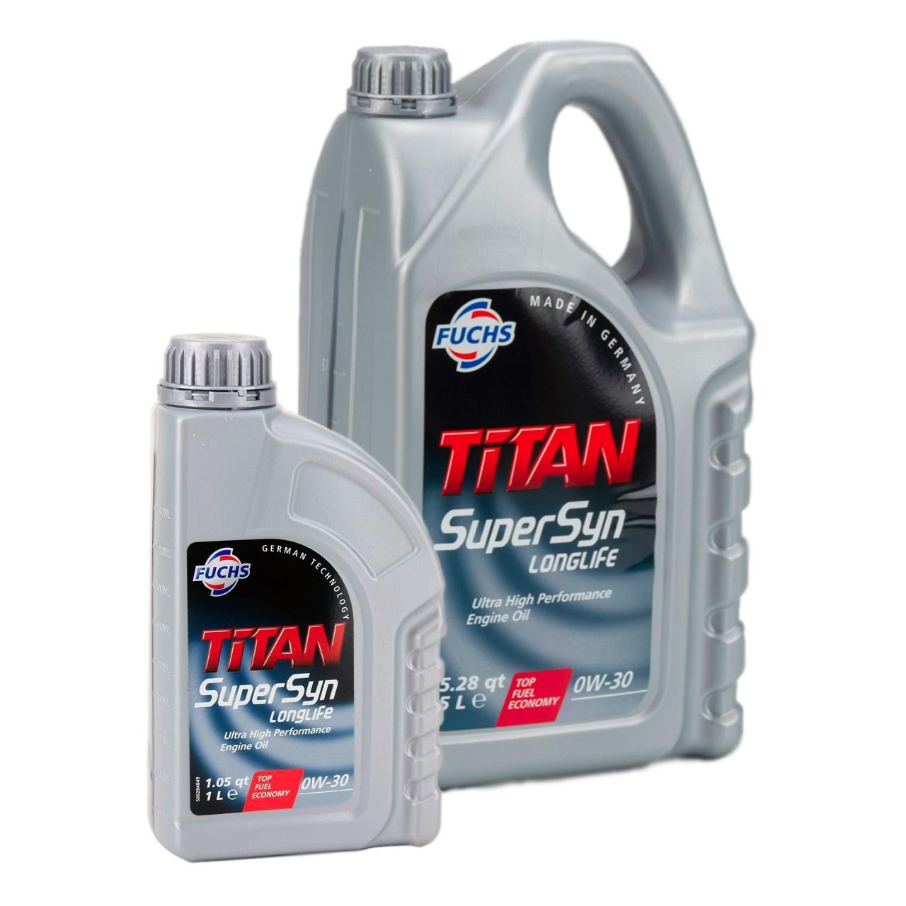 FUCHS Motoröl ÖL TITAN SUPERSYN LONGLIFE 0W30 MB 229.5 VW 502/505.00 - 6 Liter