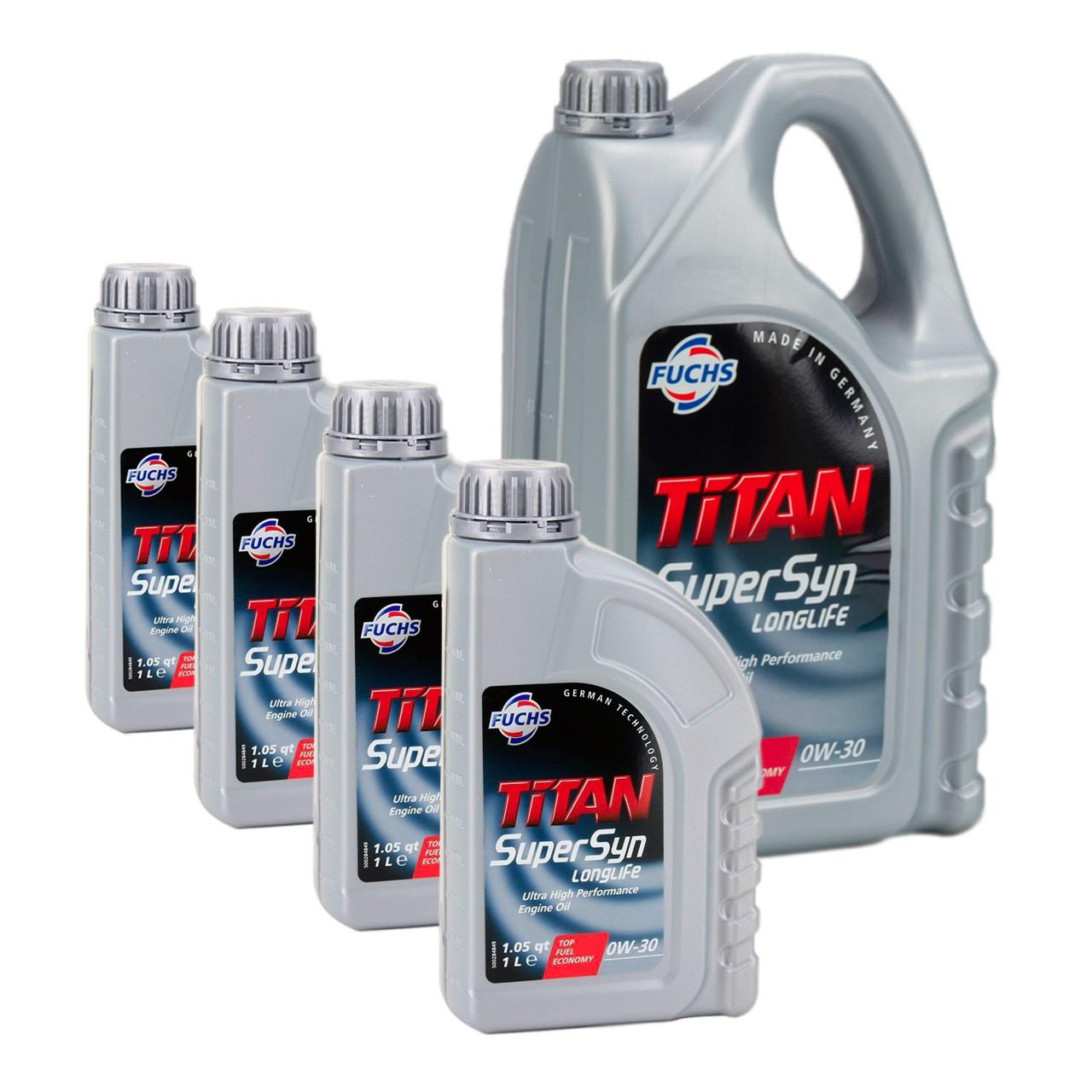 FUCHS Motoröl ÖL TITAN SUPERSYN LONGLIFE 0W30 MB 229.5 VW 502/505.00 - 9 Liter
