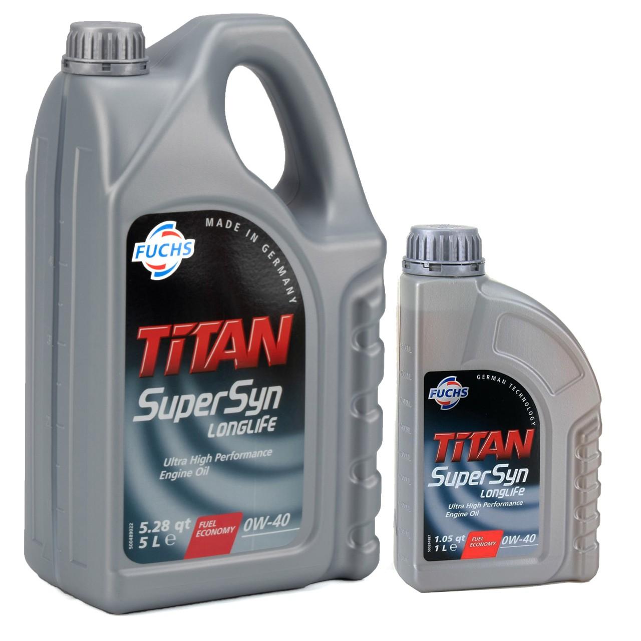 FUCHS MOTORÖL TITAN SuperSyn Longlife 0W-40 ACEA A3/B4 FORD M2C937-A 6L 6 Liter