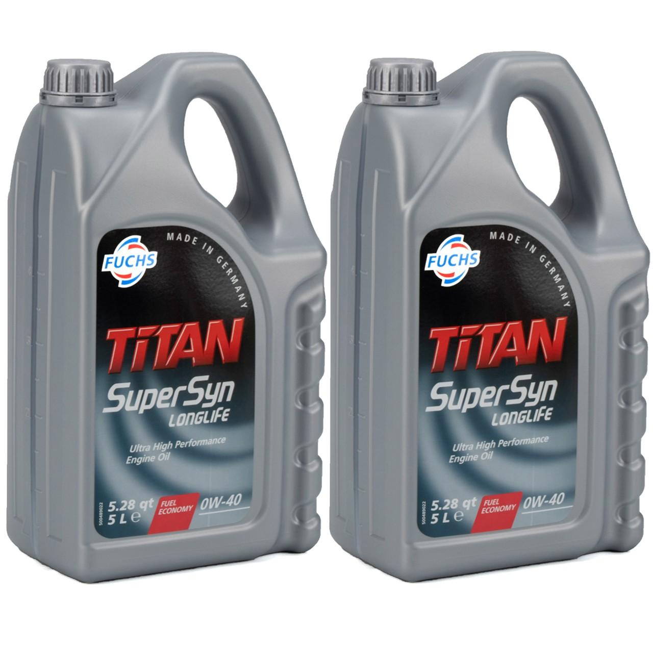 FUCHS MOTORÖL TITAN SuperSyn Longlife 0W-40 ACEA A3/B4 FORD M2C937-A 10 Liter