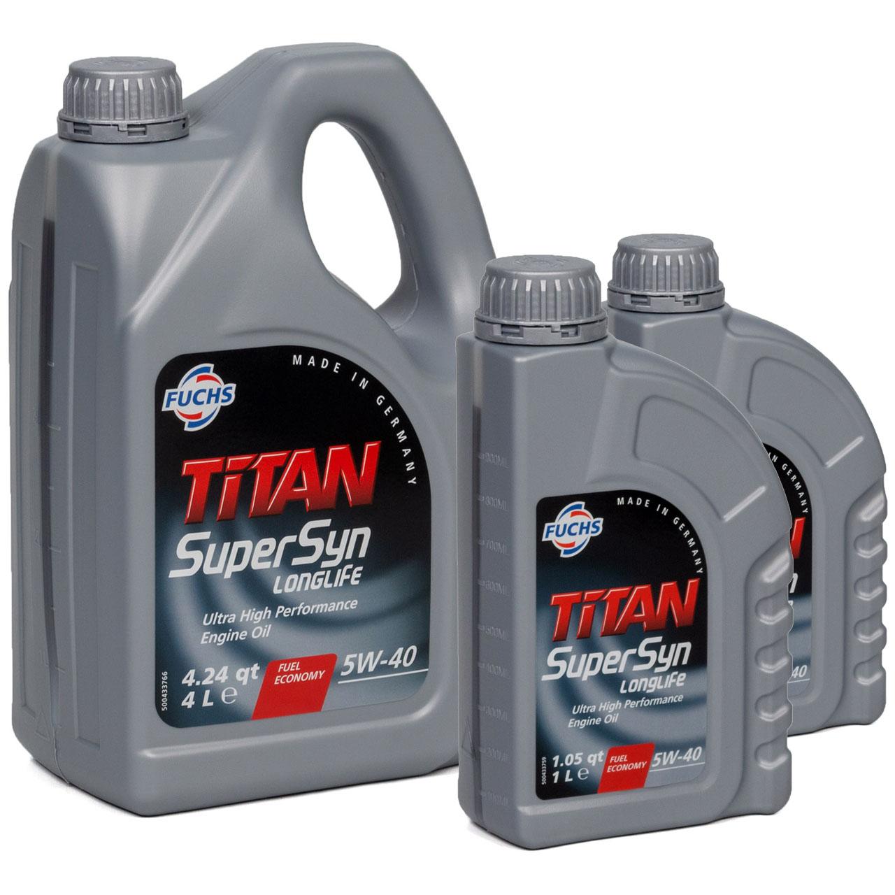 FUCHS Motoröl TITAN SuperSyn LongLife 5W-40 VW 502.00/505.00 MB 229.5 6L 6 LITER