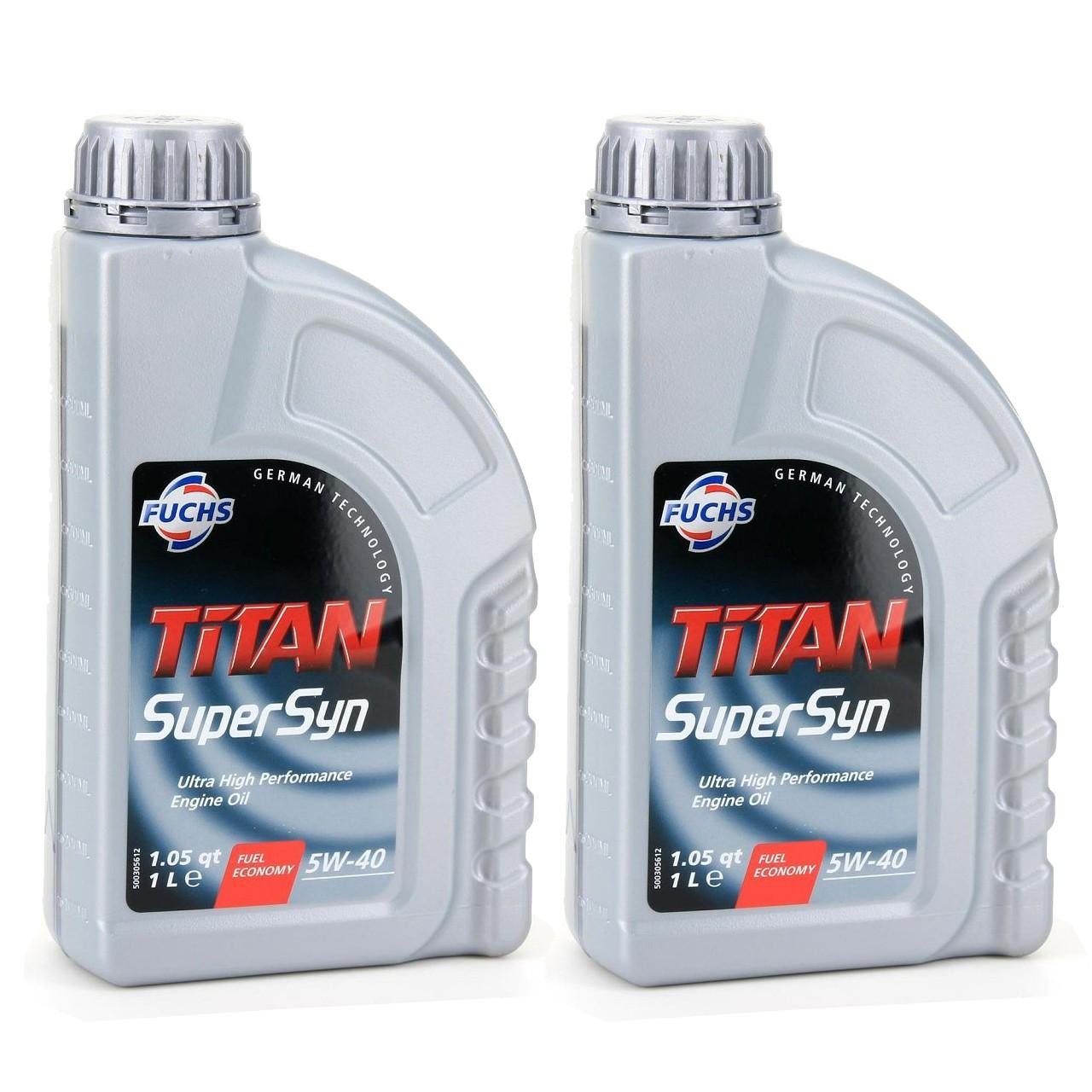FUCHS MOTORÖL TITAN SuperSyn 5W-40 VW 502.00/505.00 MB 229.3 RN0700 - 2L 2 Liter