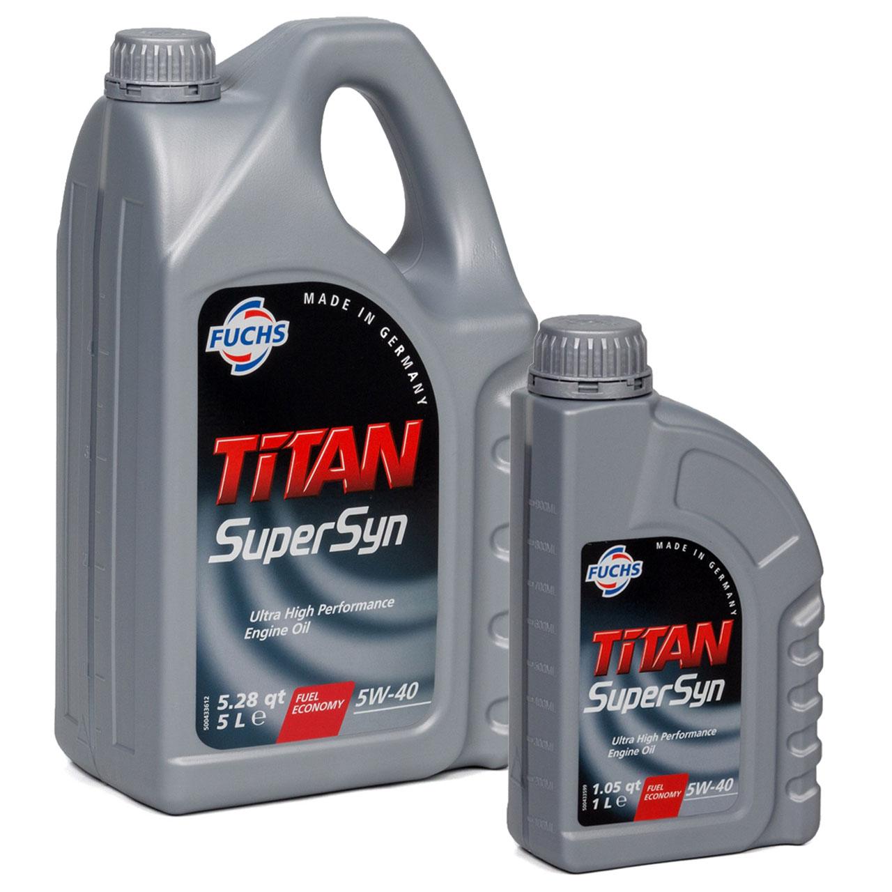 FUCHS MOTORÖL TITAN SuperSyn 5W-40 VW 502.00/505.00 MB 229.3 RN0700 - 6L 6 Liter