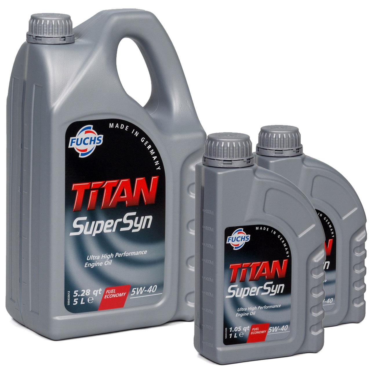 FUCHS MOTORÖL TITAN SuperSyn 5W-40 VW 502.00/505.00 MB 229.3 RN0700 - 7L 7 Liter