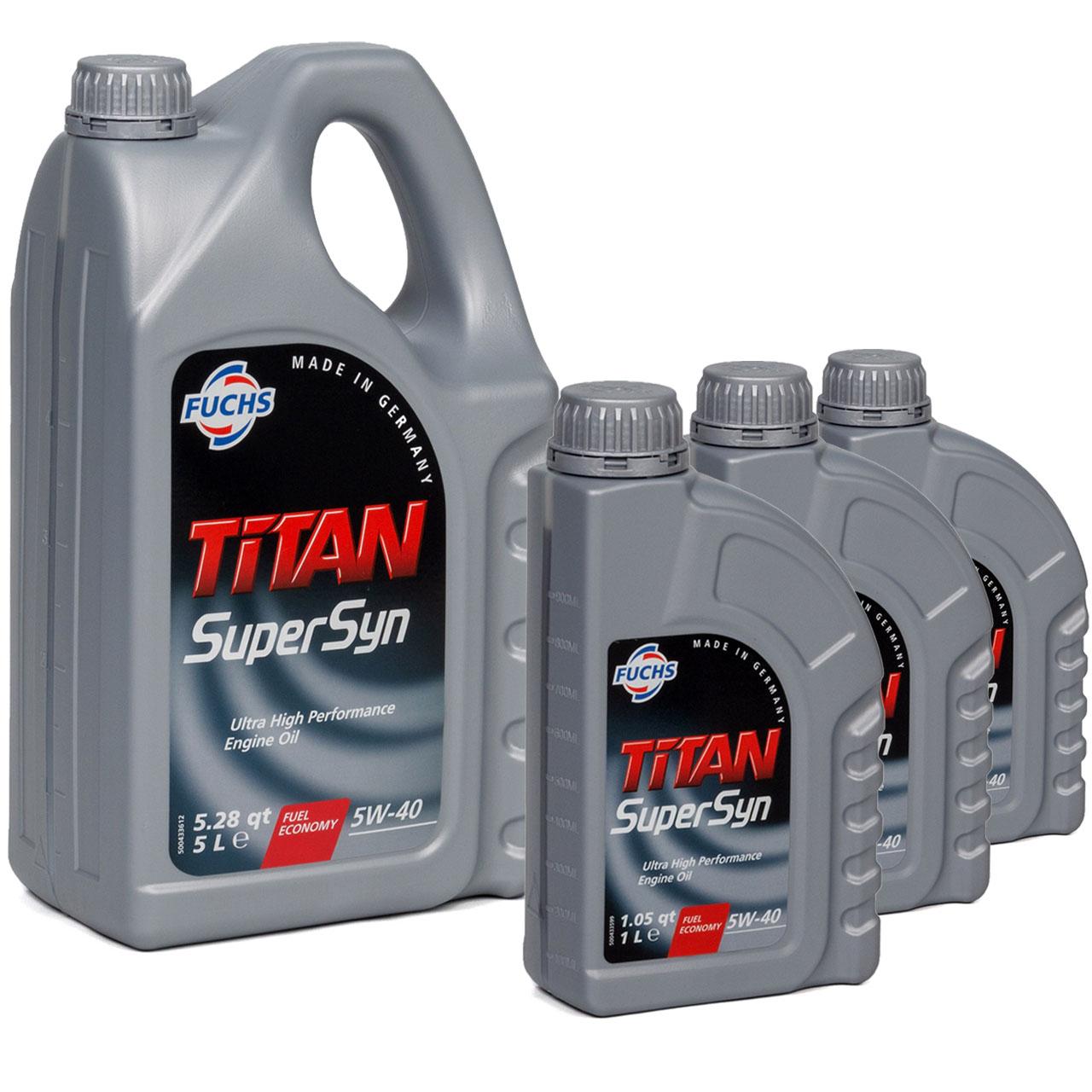 FUCHS MOTORÖL TITAN SuperSyn 5W-40 VW 502.00/505.00 MB 229.3 RN0700 - 8L 8 Liter