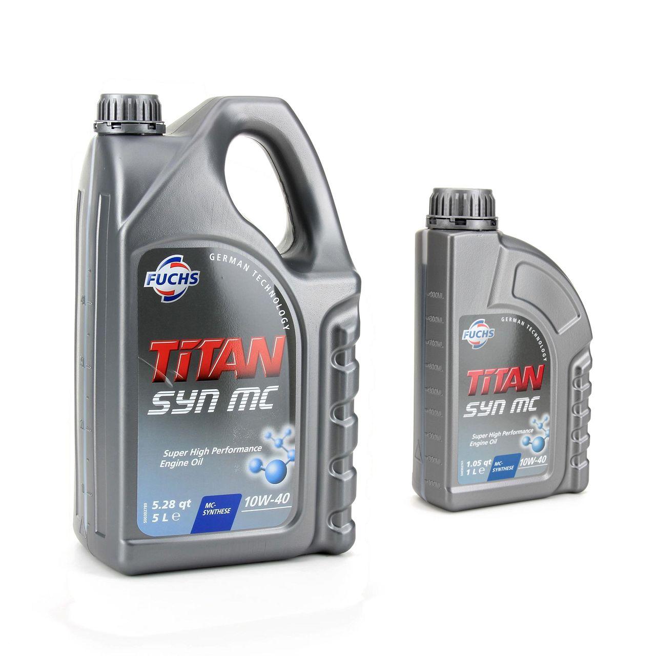 FUCHS MOTORÖL TITAN SYN MC 10W40 ACEA A3/B4 MB 229.3 VW 501.01 505.00 - 6 Liter