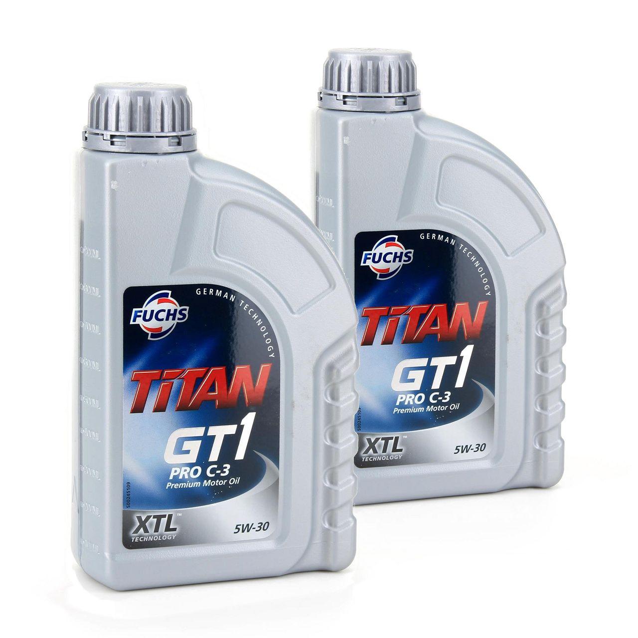 FUCHS MOTORÖL TITAN GT1 Pro C-3 5W30 5W-30 VW 504.00 507.00 MB 229.51 2L 2 Liter