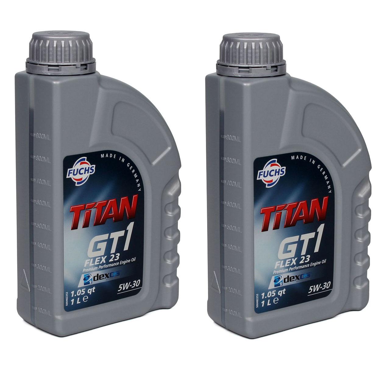 FUCHS Motoröl TITAN GT1 Flex 23 5W30 5W-30 dexos2 LL-04 505.00/505.01 2L 2 Liter