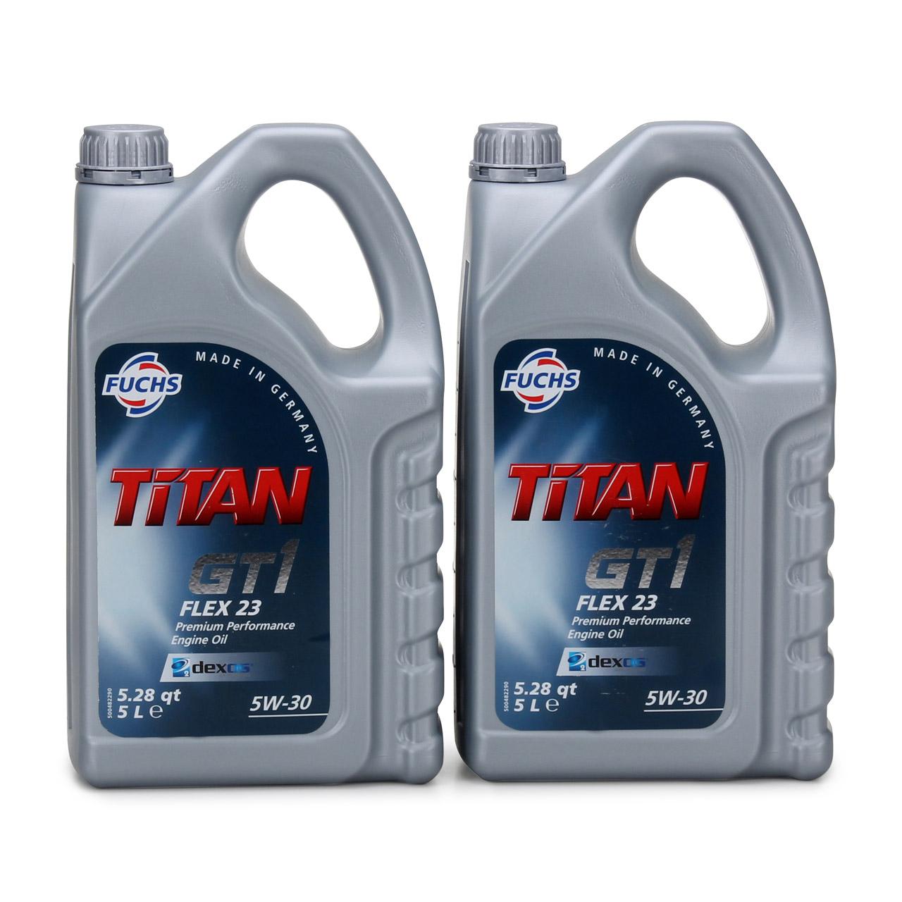 FUCHS Motoröl TITAN GT1 Flex 23 5W30 5W-30 dexos2 LL-04 505.00/505.01 10 Liter