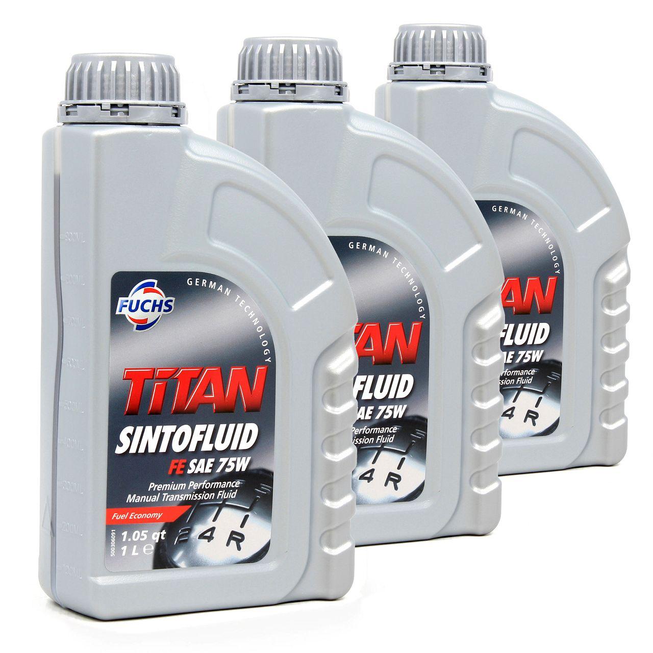 FUCHS Getriebeöl Schaltgetriebeöl TITAN Sintofluid FE SAE 75W API GL-4 - 3 Liter