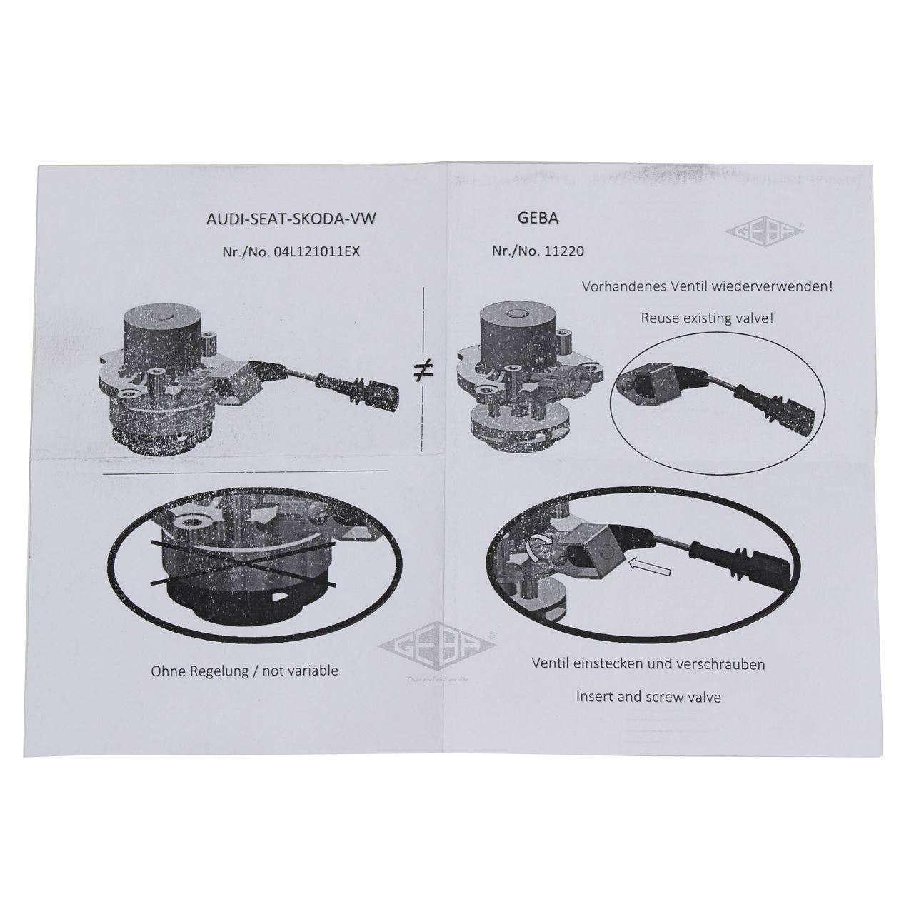 GEBA Wasserpumpe AUDI A1 A3 A4 A5 A6 SEAT SKODA VW Golf Passat 1.6/2.0 TDI 04L121011LX