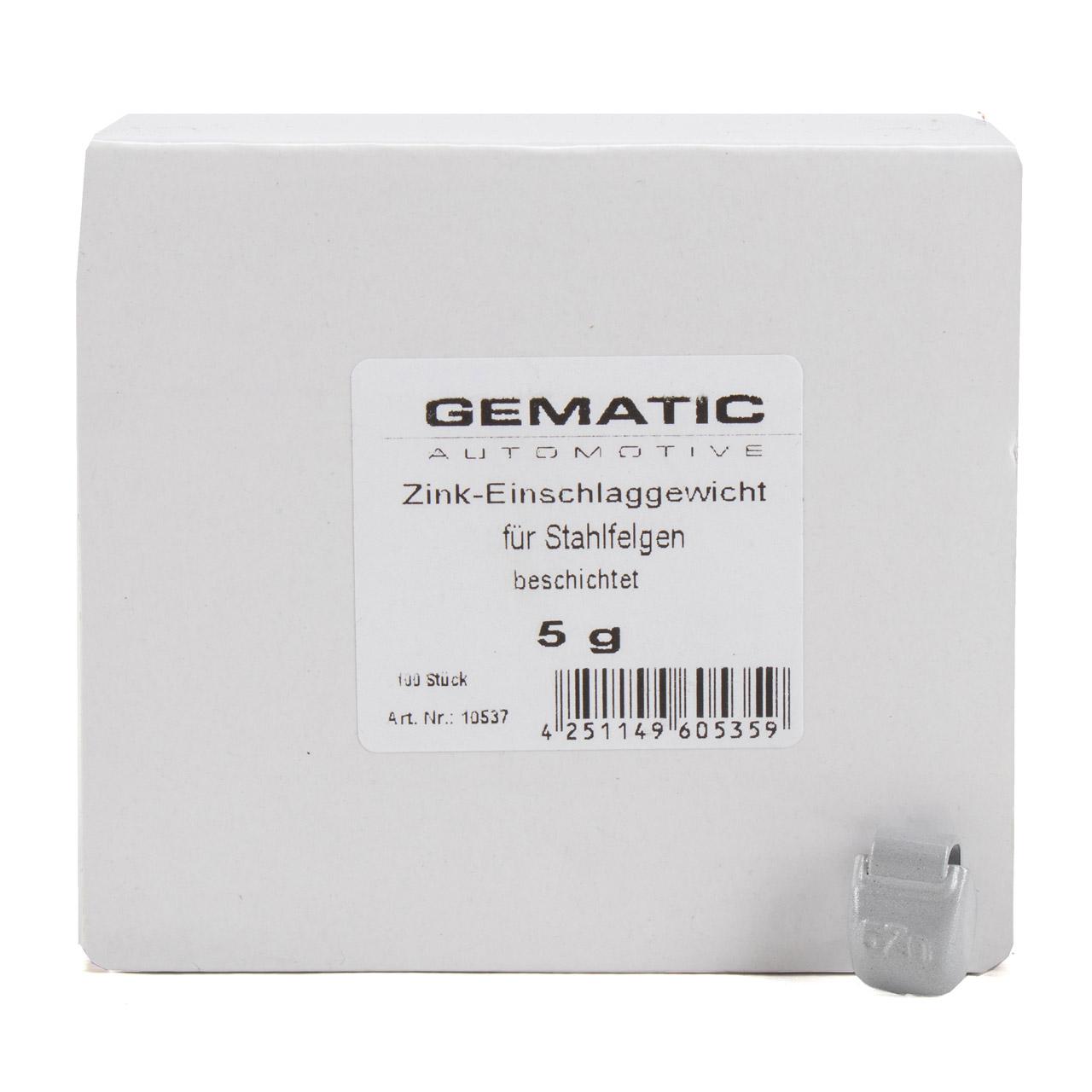 GEMATIC Auswuchtgewicht Schlaggewicht für Stahlfelge GRAU-ZINK 100 Stück x 5g