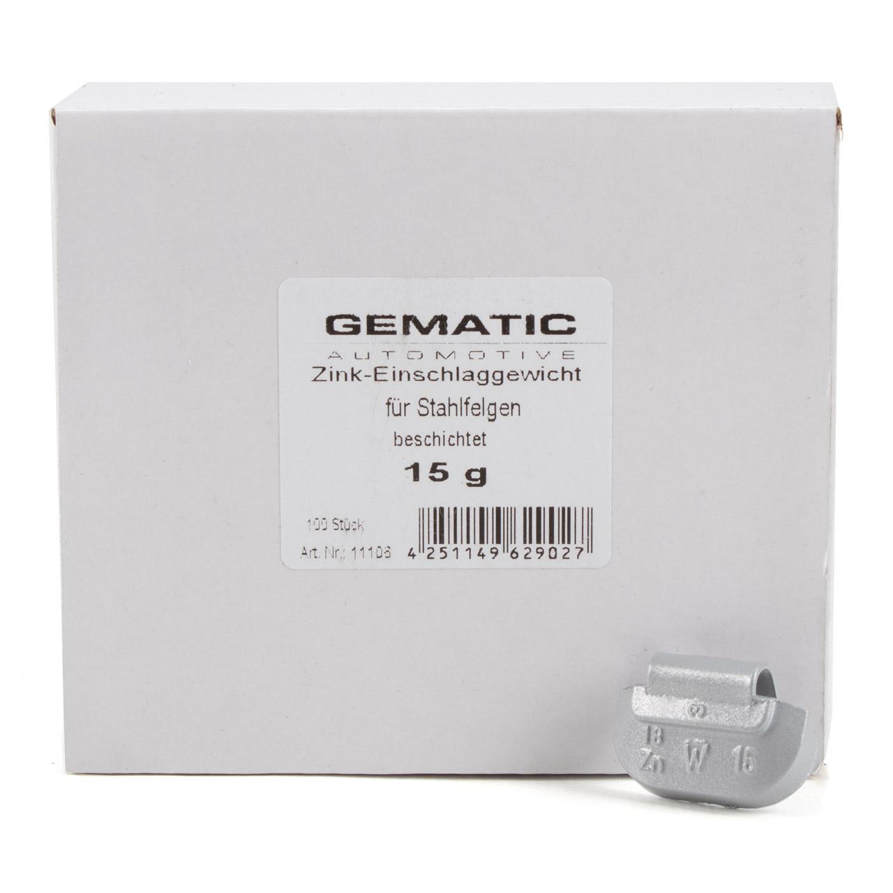 GEMATIC Auswuchtgewicht Schlaggewicht für Stahlfelge GRAU-ZINK 100 Stück x 15g