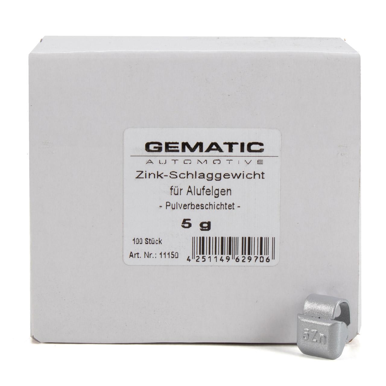 GEMATIC Auswuchtgewicht Schlaggewicht für Alufelge GRAU-ZINK 100 Stück x 5g