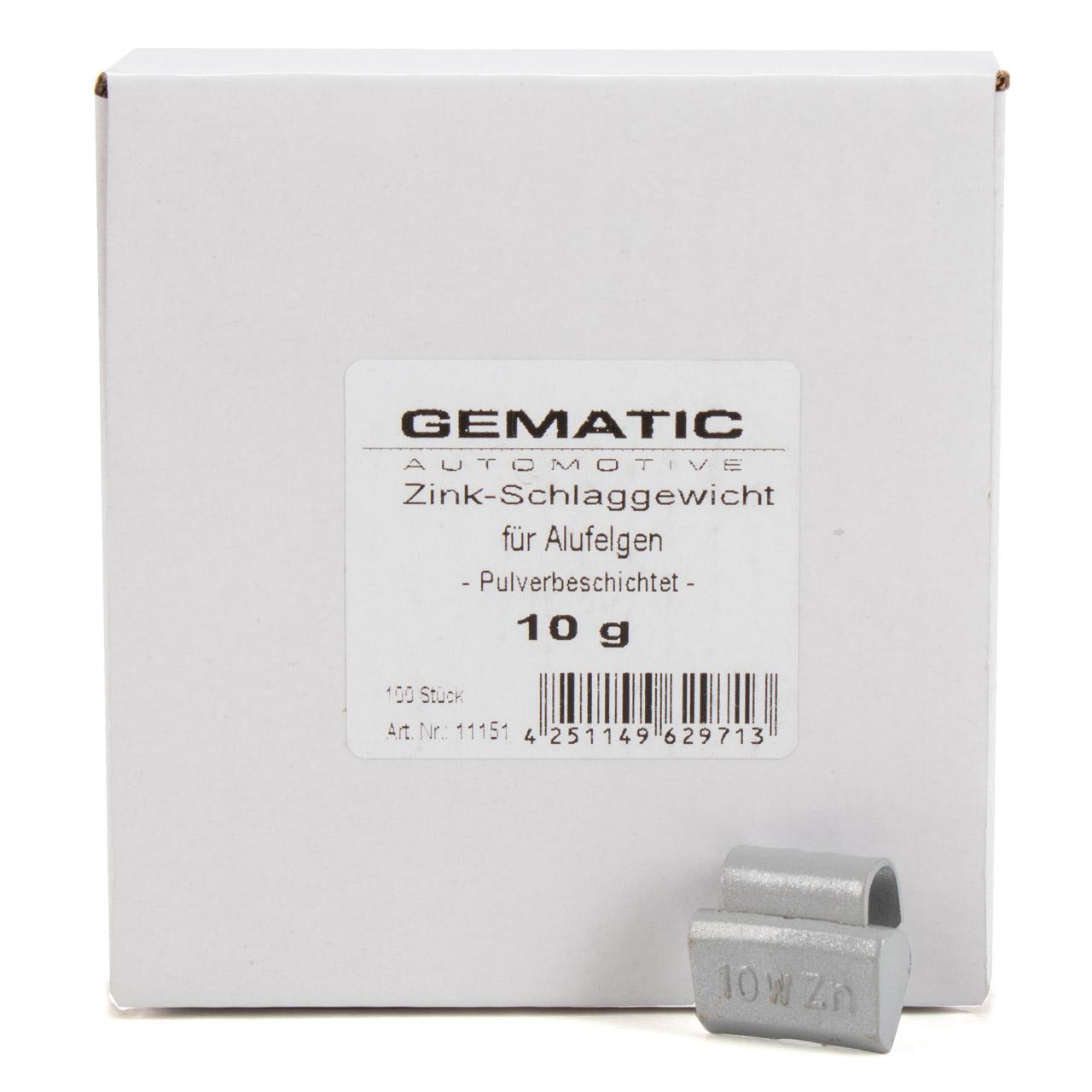 GEMATIC Auswuchtgewicht Schlaggewicht für Alufelge GRAU-ZINK 100 Stück x 10g