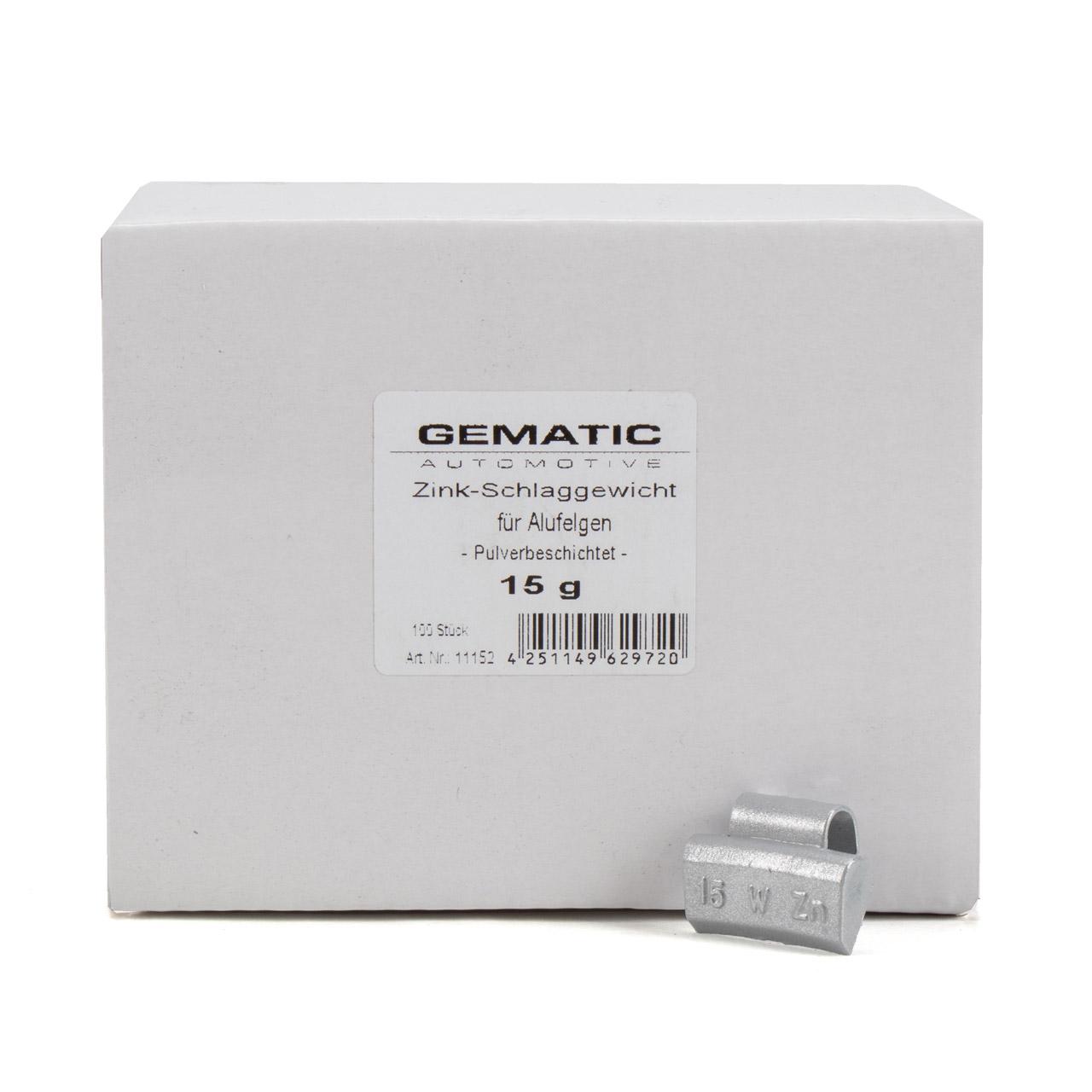 GEMATIC Auswuchtgewicht Schlaggewicht für Alufelge GRAU-ZINK 100 Stück x 15g