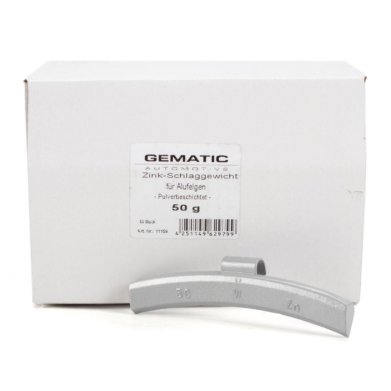 GEMATIC Auswuchtgewicht Schlaggewicht für Alufelge GRAU-ZINK 50 Stück x 50g