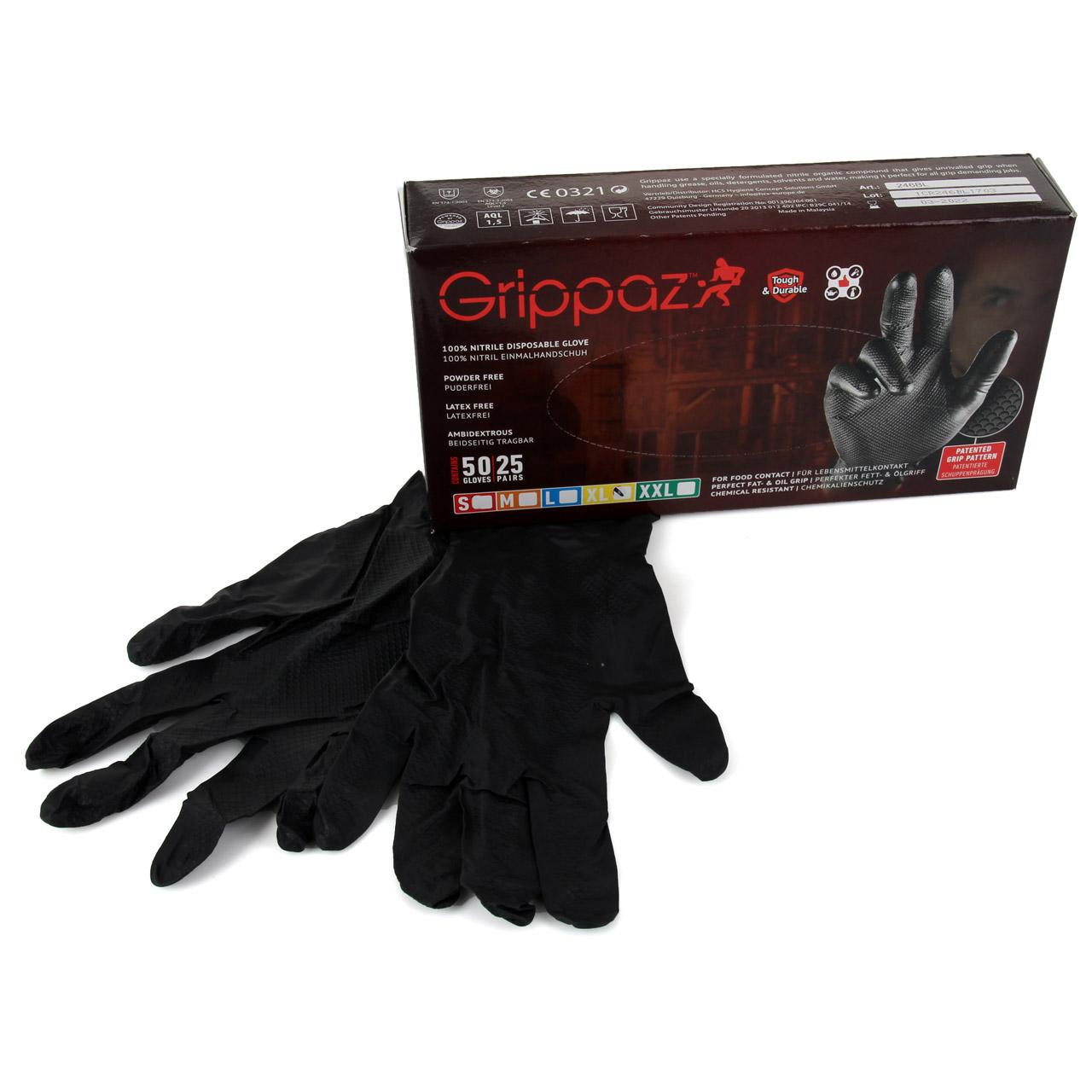 GRIPPAZ 246 Schutzhandschuhe NITRIL Handschuhe SCHWARZ Größe XL (50 Stück)