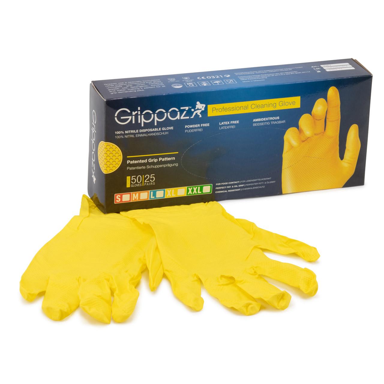 GRIPPAZ 306 Schutzhandschuhe NITRIL Handschuhe GELB Größe S (50 Stück)